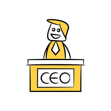businessman CEO desk yellow doodle design  イラスト・ベクター素材
