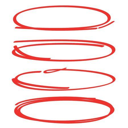 rote handgezeichnete und skizzierte Oval-, Kreismarker oder Textmarker-Elemente