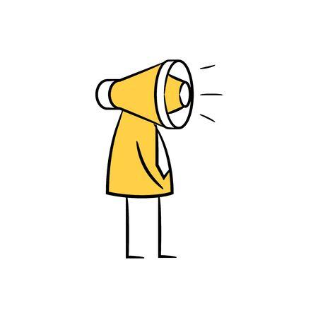 businessman megaphone head, doodle character design Ilustração