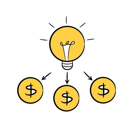 idea light bulb transfer to money Ilustrace