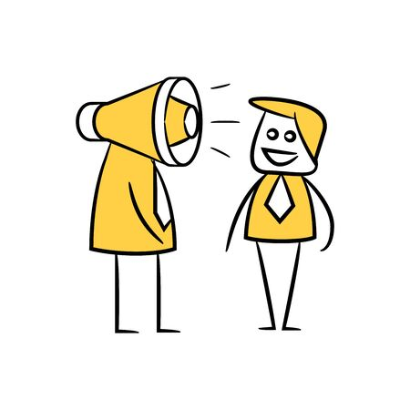 businessman and megaphone head, doodle character design