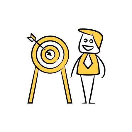 businessman and arrow dart, yellow character doodle design