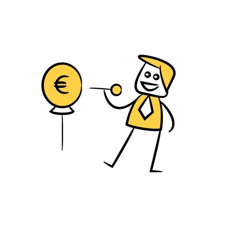 businessman using pin to puncture money balloon, yellow character doodle design