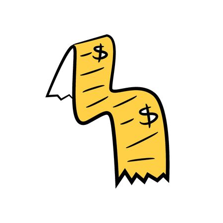 receipt and bill , yellow character doodle design