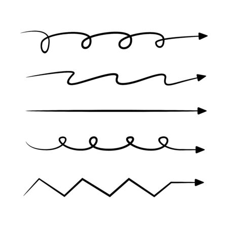 hand drawn and doodle arrows set