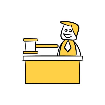 Doodle stick figure businessman sitting and gavel on table