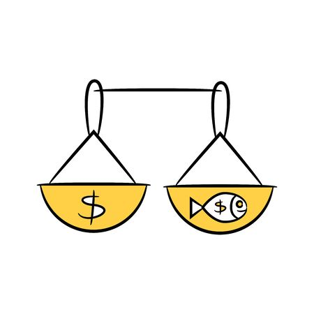 money and fish in balance scale