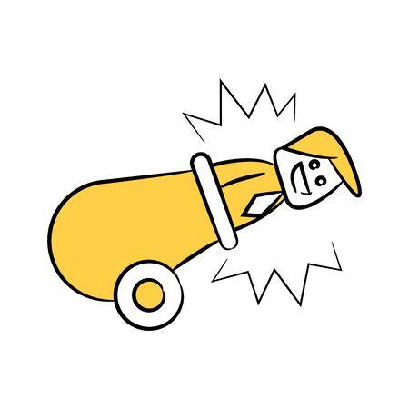 doodle stick figure businessman in cannon Illusztráció