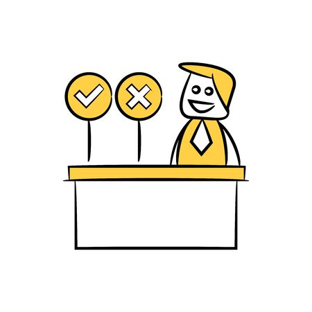 doodle stick figure businessman right and wrong signage