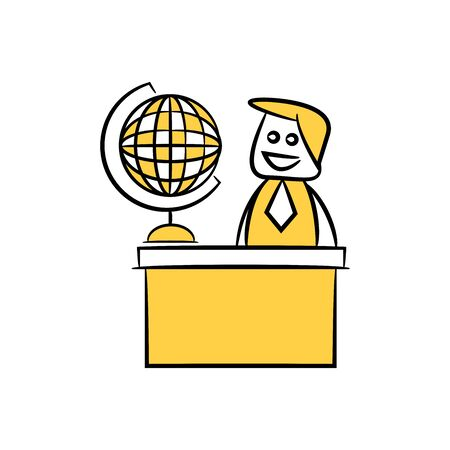 doodle stick figure businessman and globe on table