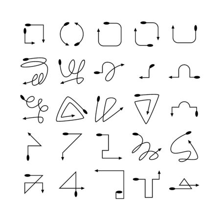 arrow and line bow icons set