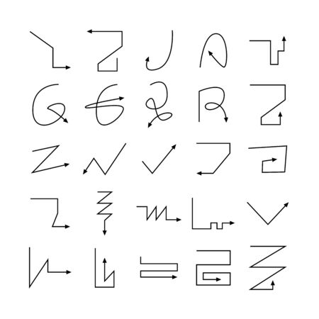 thin line arrow and bow icons Vectores