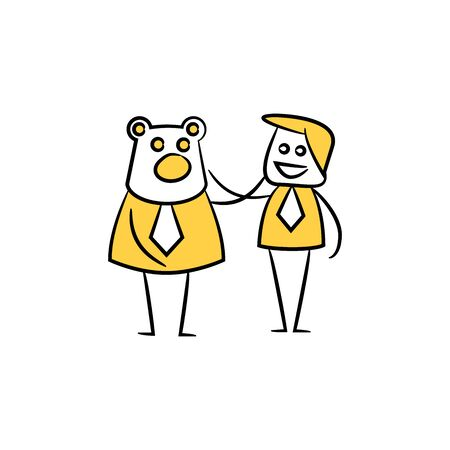 businessman and bear yellow doodle theme Reklamní fotografie - 127953392