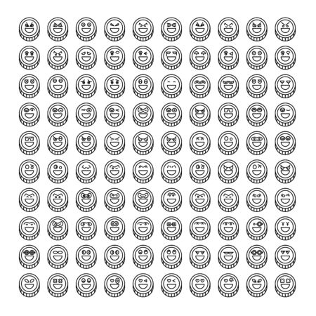 coin emoticon icons set line