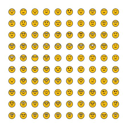 set of emoticon icons yellow face Reklamní fotografie - 127953620