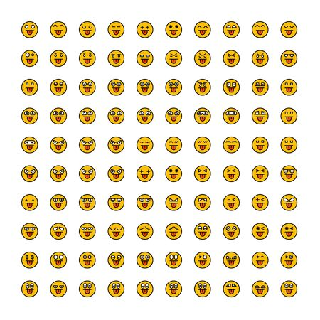set of emoticon icons yellow face Reklamní fotografie - 127953638