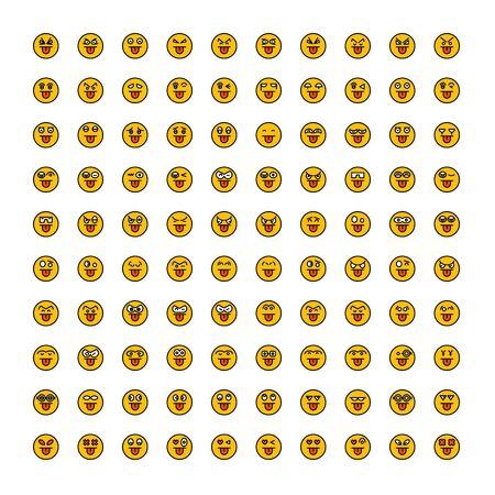 set of emoticon icons yellow face Reklamní fotografie - 127953640