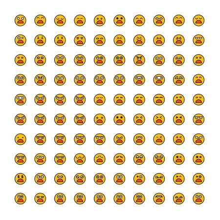 set of emoticon icons yellow face Reklamní fotografie - 127953649