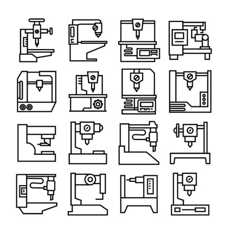 factory machine, automatic industrial machine icons