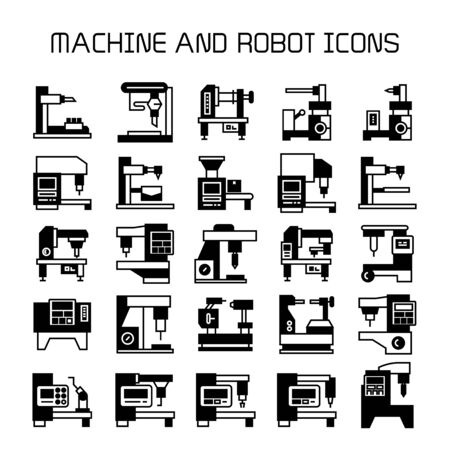 factory machine and industrial robot icons