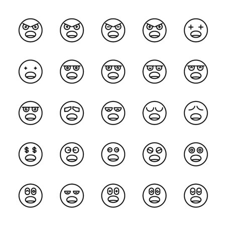emoticon icons line circle shape