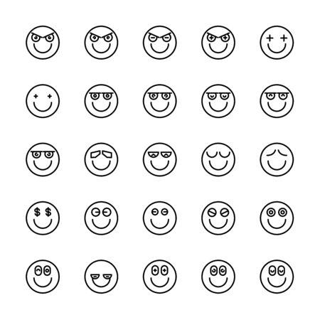 emoticon icons line circle shape Reklamní fotografie - 127953852