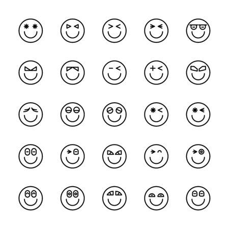 emoticon icons line circle shape