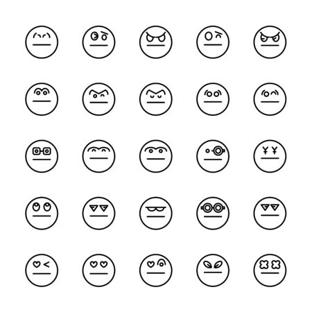 emoticon icons line circle shape Reklamní fotografie - 127953903