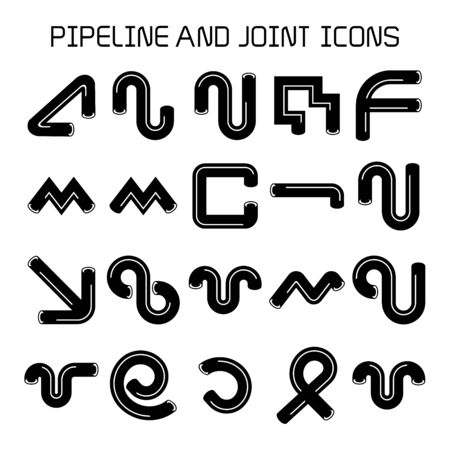 pipe, duct and joint icons. cylinder shape. Stock Illustratie