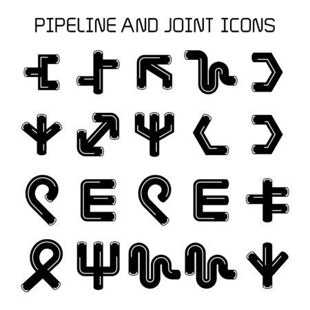 pipe, duct and joint icons. cylinder shape. Illustration