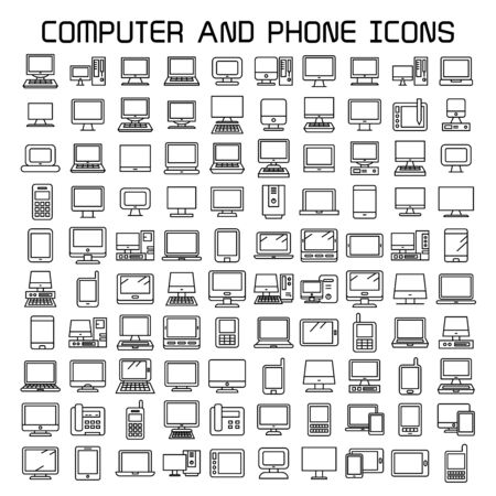 computer and smart phone icons, line icons Иллюстрация