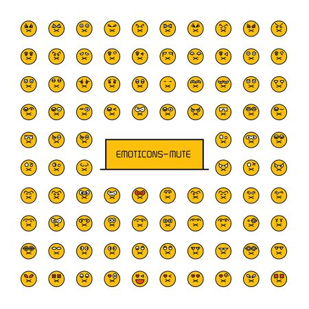collection of yellow face emoticons emoji icons