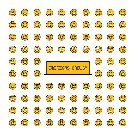collection of yellow face emoticons emoji icons Иллюстрация