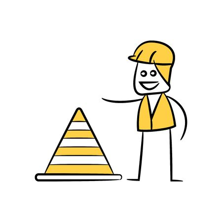 engineer or operator with construction cone, doodle stick figure design
