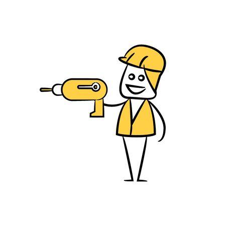 engineer or operator using driller, doodle stick figure design Illustration