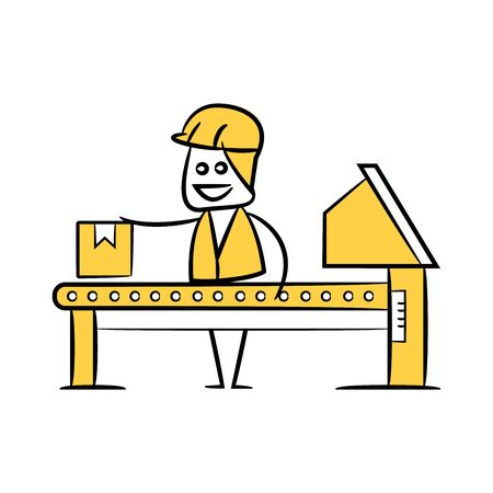 engineer or operator in manufacturing process, doodle stick figure design