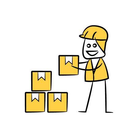 labor picking a box, doodle stick figure design