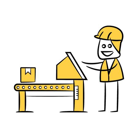 engineer or operator in manufacturing process, doodle stick figure design Illustration