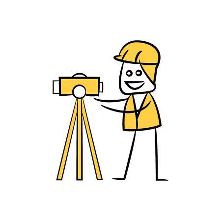geodeta lub inżynier budowlany za pomocą narzędzia, doodle stick figure design