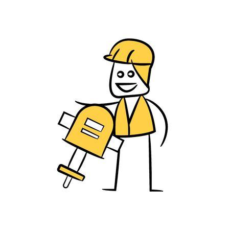 engineer or operator using auger, doodle stick figure design Illustration