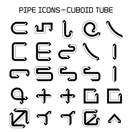 pipe and pipeline icon, cuboid shape