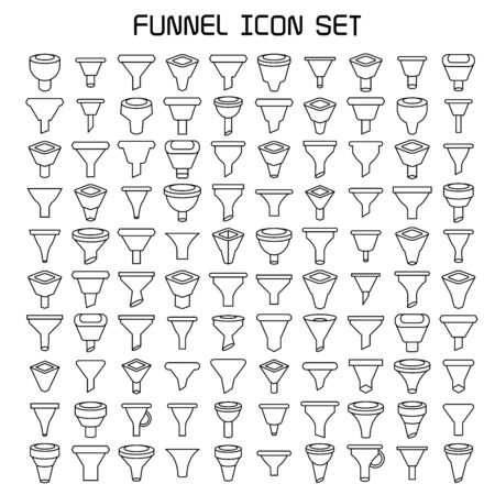 funnel and filter icons line design