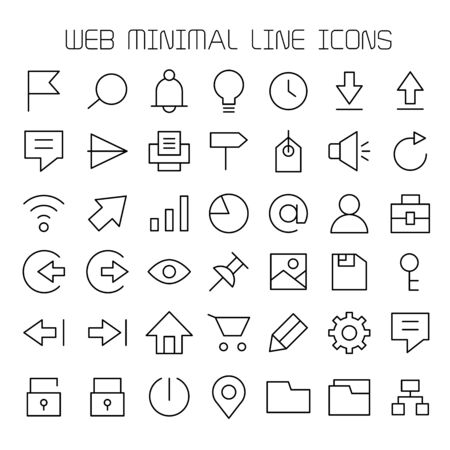 web interface icons set line design