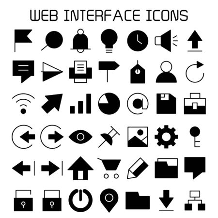 simple web interface icons set