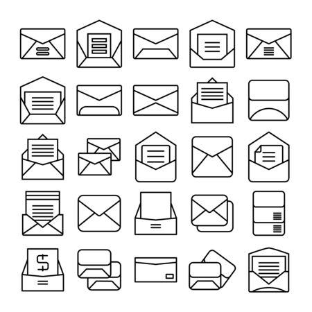 envelope, mail and letter icons set Иллюстрация