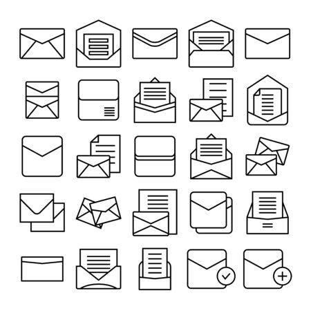 envelope, mail and letter icons set Vektorové ilustrace