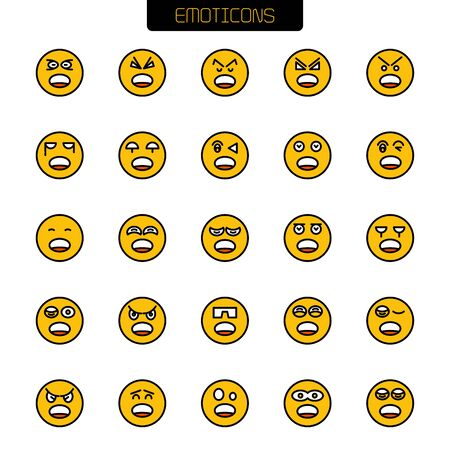 emoticon icons yellow face vector set
