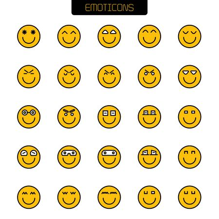 emoticon icons yellow face vector set