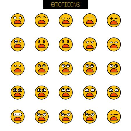 set of emoticon icons yellow face