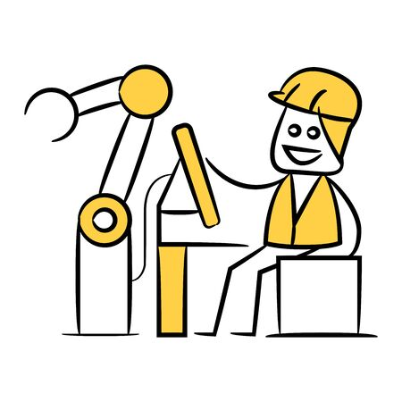 engineer control robot yellow doodle design